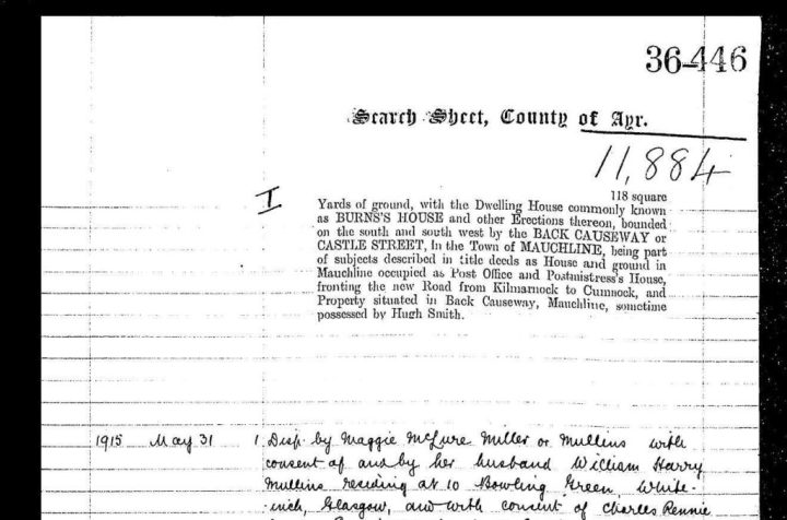 Search sheet showing the official name of Burns House