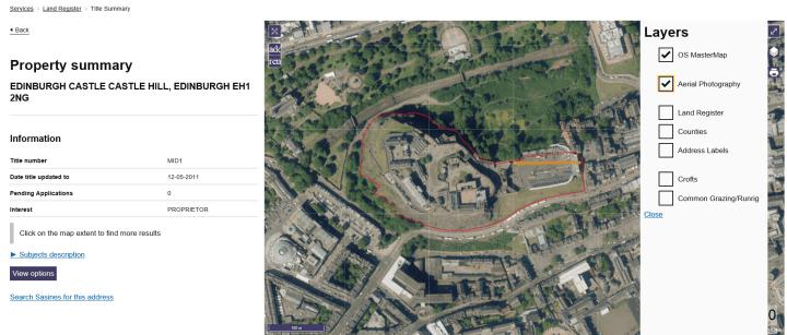 Areil property summary of Edinburgh Castle on ScotLIS