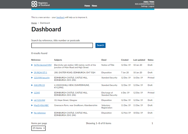 Screenshot of dashboard