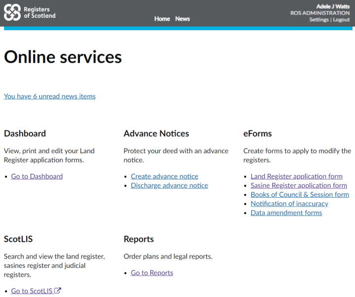 Online services homepage with dashboard link