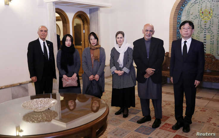 Afghanistan's President Ashraf Ghani meets with family of Japanese doctor Tetsu Nakamura, in Kabul, Afghanistan December 6,…