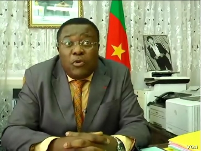 Cameroon's minister delegate to the Minister of Justice Jean de Dieu Momo speaks at his office in Yaounde, Cameroon, Sept. 18, 2019. (M. Kindzeka/VOA)