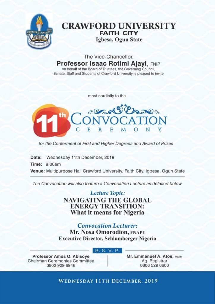 Crawford University 11th Convocation Ceremony Schedule 724x1024 - 11th Convocation Ceremony Of Crawford University