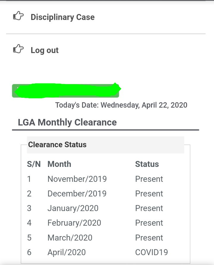 IMG 20200422 083826 974 - NYSC Changes Monthly Clearance Status from Present to COVID-19