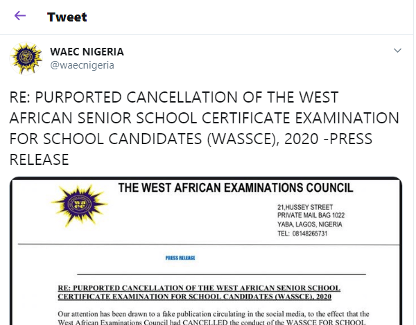 wassce cancellation - WAEC Warns Candidates to Ignore Fake News about Cancellation of  WASSCE 2020