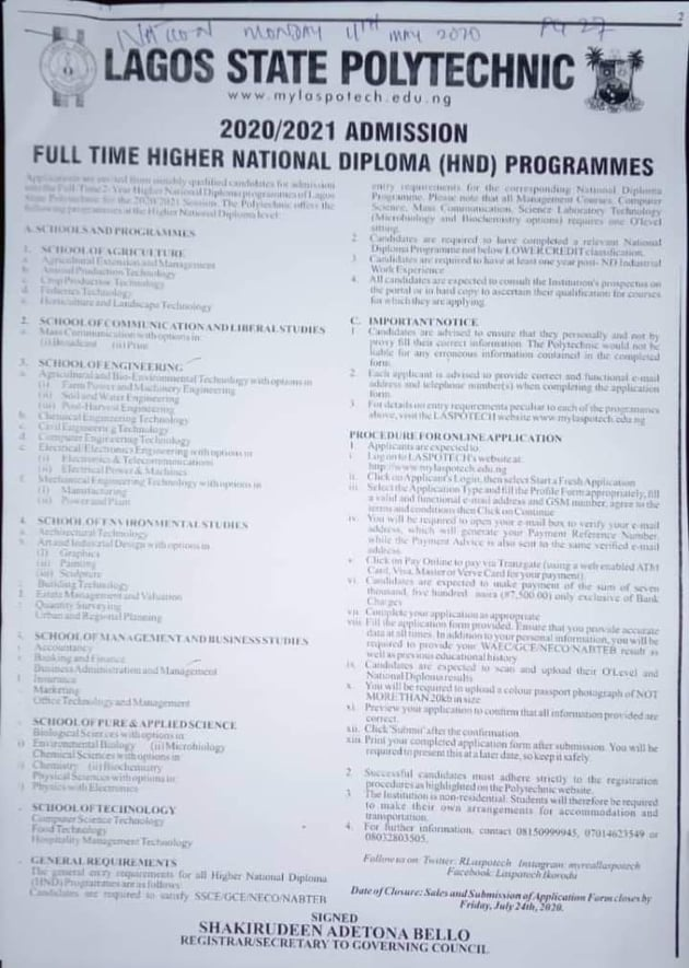 LASPOTECH HND Full Time Form 2020 2021 - LASPOTECH HND Full-Time Admission Form 2020/2021