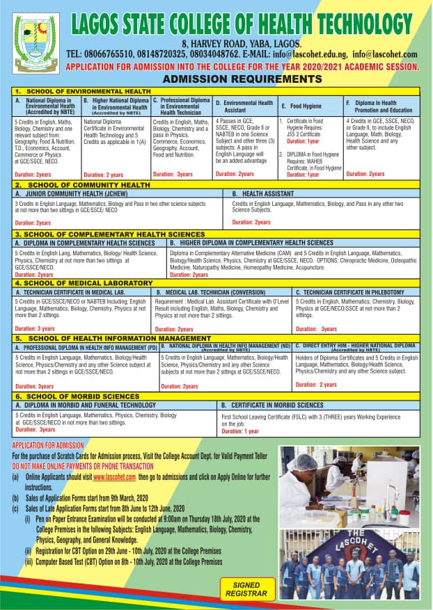 LASCOHET Admission Form 2020 2021 insideschool - LASCOHET Admission Form Guidelines 2020/2021 for ND, HND & Diploma