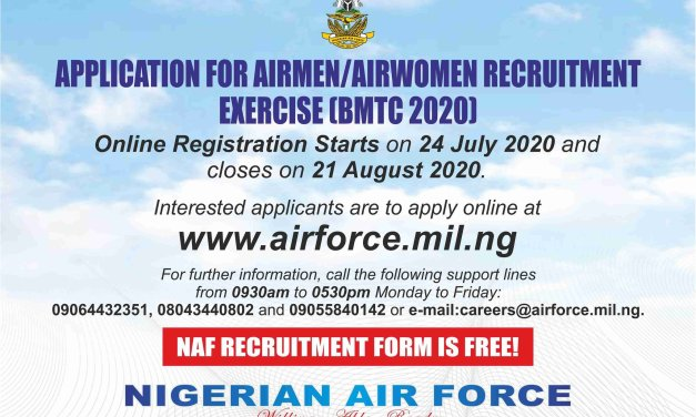 Nigerian Air Force Recruitment BMTC 2020/2021 & How to Apply