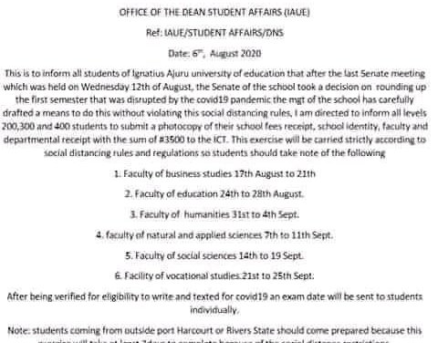 IAUE Disclaimer Notice to Students on Suspended 1st Semester Exam