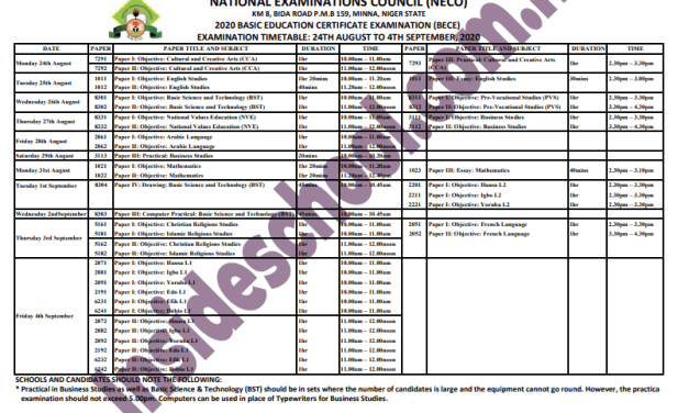 National Examinations Council (NECO) 2020 BECE Timetable for JSS 3 Candidates [Download PDF]