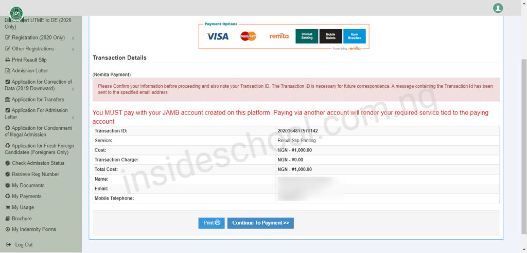 Print JAMB Payment page 1024x493 - How to Print JAMB Original Result Slip Online [VIDEO]