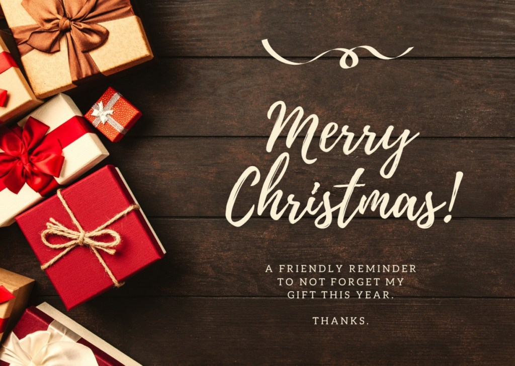 Dont Forget Gift Funny Christmas Card 1024x727 - Merry Christmas 2020: Greetings images, SMS, Messages, Quotes for Instagram , WhatsApp, Facebook status