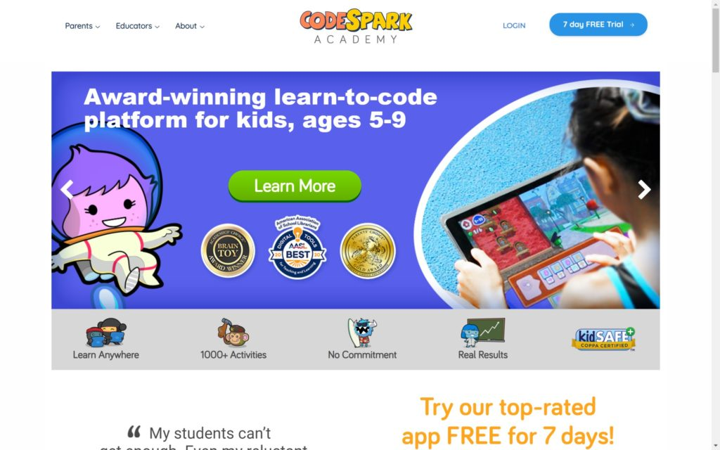 codespark.com Laptop with HiDPI screen 1024x640 - Top 20+ Best Coding Apps for Kids and Teenagers [Free/ Paid]