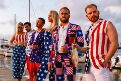 Group in Shinesty American Flag Apparel