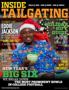 cover of Inside Tailgating Magazine Holiday 2019 with Food Network Star Eddie Jackson