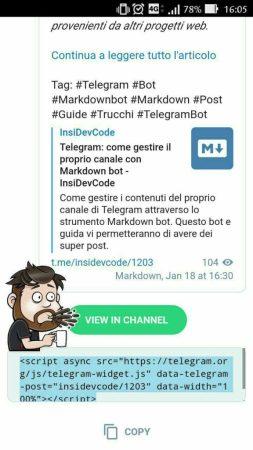 Telegram 4.6 Widget HTML incorporabile per i messaggi