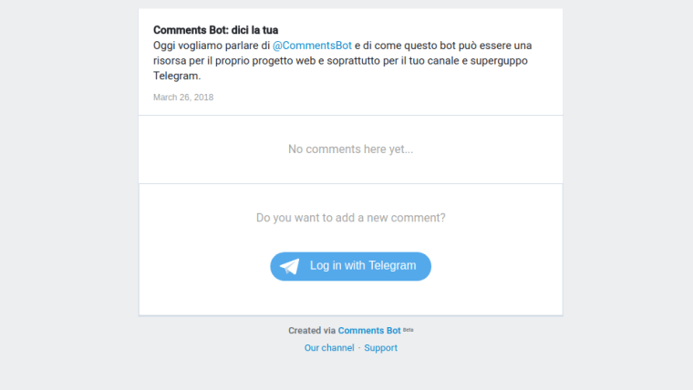 comments bot commentare i post nel canale Telegram