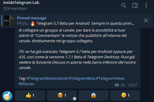 telegram 5.7 per android e ios canale broadcast