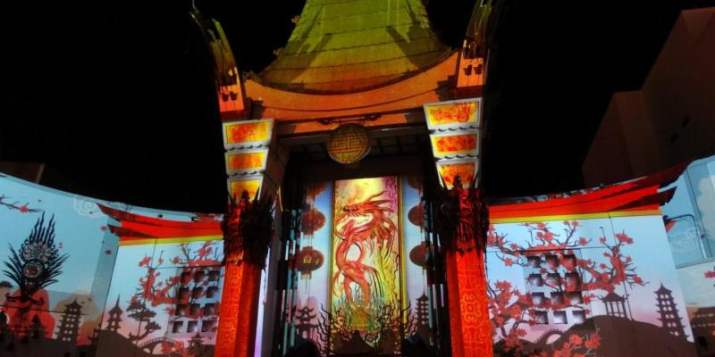 theatre lighting mapped nightly angeles los video hollywood begins in show graumans lights s grauman projection chinese