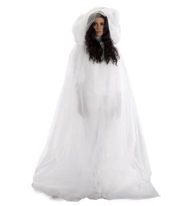 White Tulle Ghost Cape
