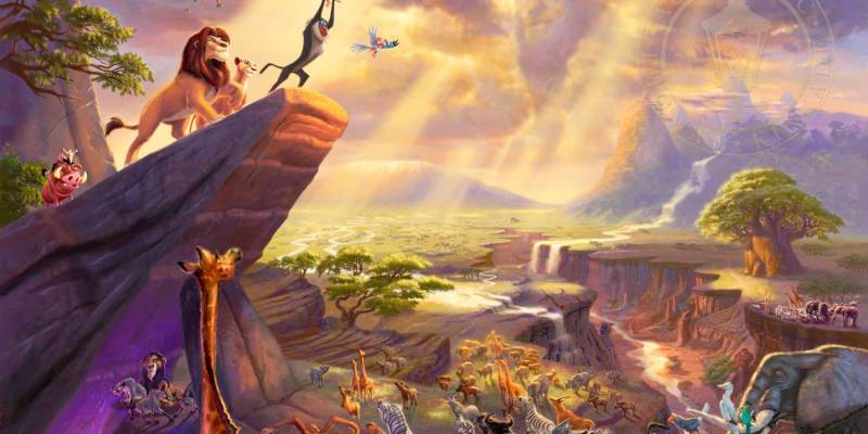 Thomas Kinkade Disney Art - The Lion King