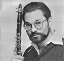 David Shifrin in his 20's holding his clarinet in B&W