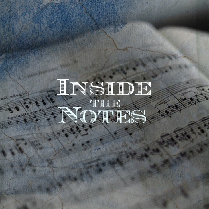 home page open sheet music book with logo of podcast Inside the Notes