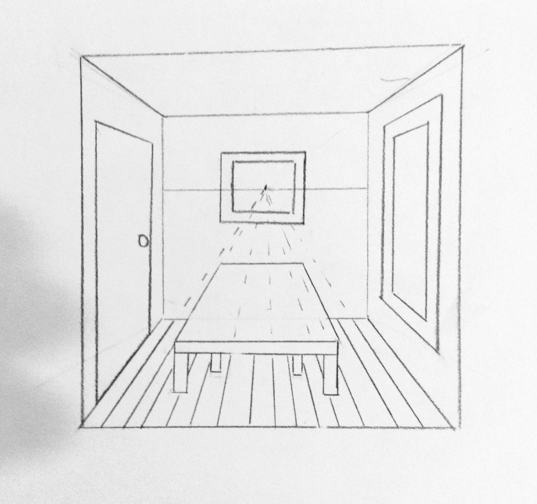 1 Point Perspective Room With Table