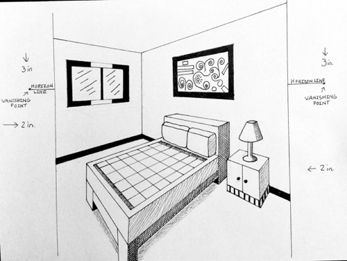 2 Point Perspective Interior Spaces Inside The Outline