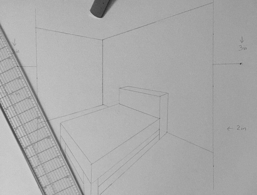 """2 Point Perspective """"Interior Spaces"""" Inside The Outline"""