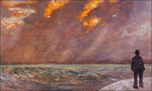 Giovanni Fattori, Marina al tramonto, 1890-1895, olio su tavola, dim. cm 19 x 33, Firenze, Galleria nazionale d'Arte Moderna