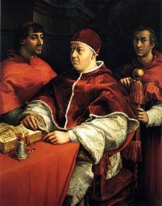 Raffaello Sanzio, Ritratto di Leone X coni cardinali G. de' Medici e L. de' Rossi, 1518-1519, Firenze, Gallerie degli Uffizi