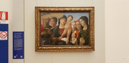 Andrea Mantegna Madonna con bambino e sei santi MRT 1485 circa dipinto tempera grassa su tavola