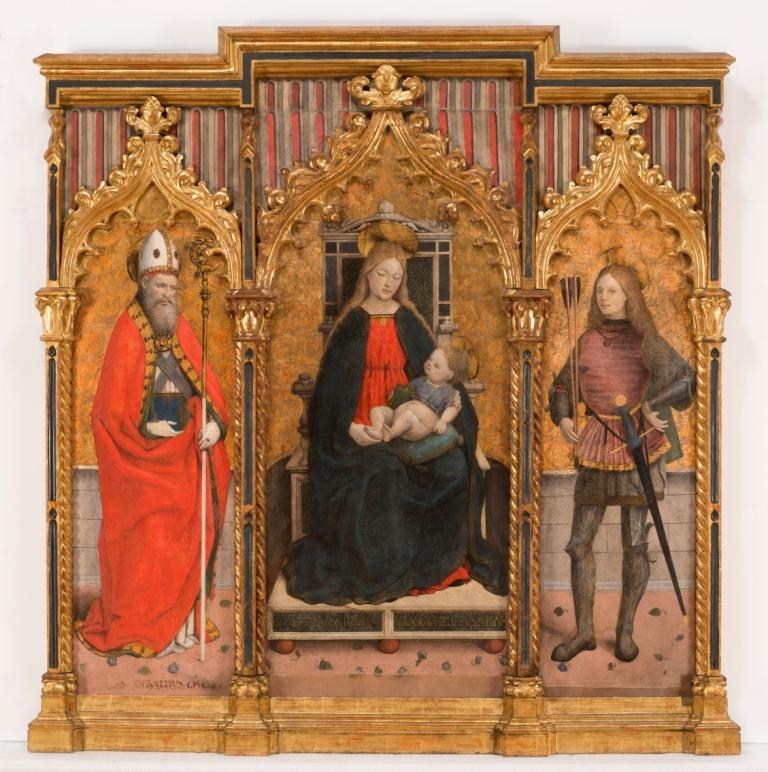 Madonna in trona con il bambino tra i santi Ubaldo e Sebastiano, G. M. Spanzotti. post 1480, Musei Reali Torino