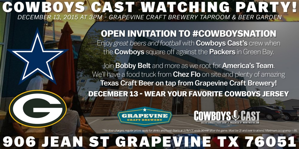 Cowboys Cast - Dallas Cowboys Watching Party, Dec 13 At Grapevine Craft Brewery