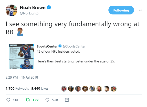 Noah Brown Takes to Twitter to Call Out ESPN