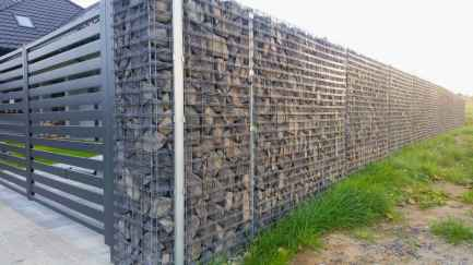 48 Fabulous Gabion Fence Design for Garden Landscaping Ideas