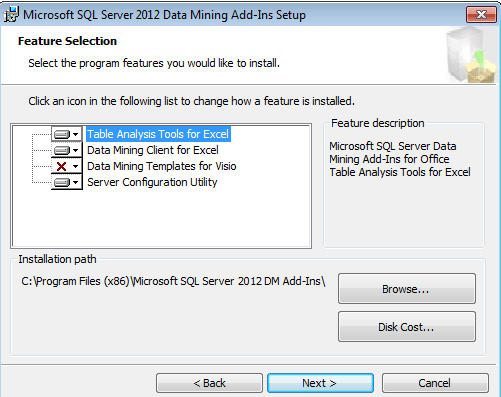 feature selection tab of excel data mining add-in