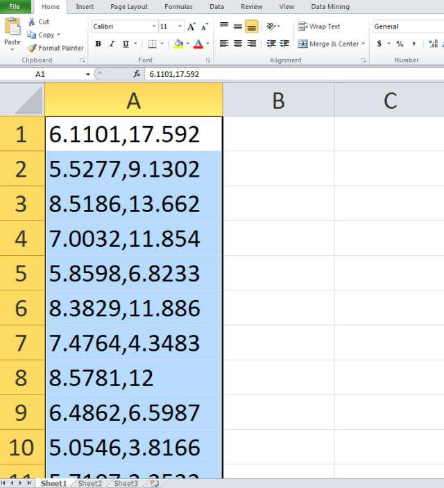 open a data set in excel text to columns