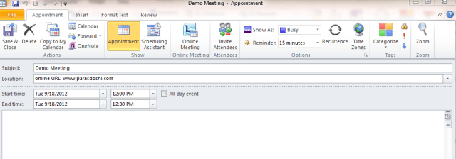 enter outlook calendar meeting details timezone