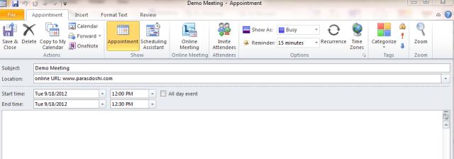 enter outlook calendar meeting details timezone