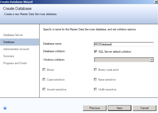 SQL Server 2012 Master Data Services MDS specify database name