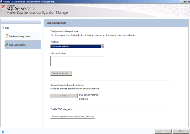 SQL Server 2012 Master Data Services MDS create new website