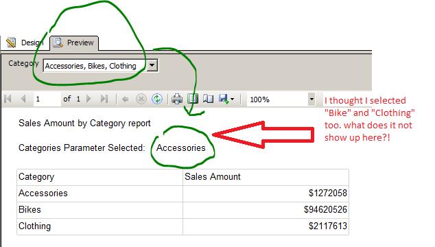 Multi Select parameter SSRS display