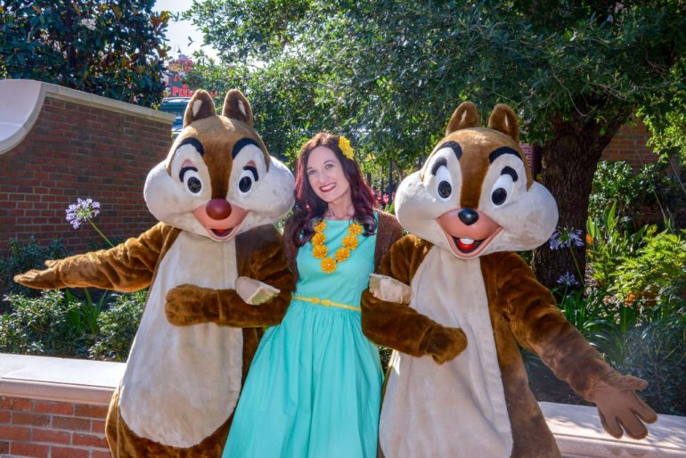 Theresa DisneyBounding as Clarice the Chipmunk, standing between Chip and Dale.