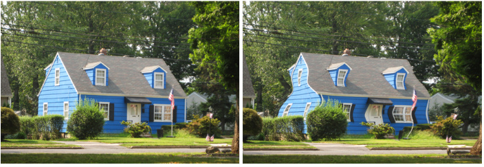 Two images of a blue house side-by-side. On the right is how a person with normal vision would see it, on the left the house is distorted with wavy lines showing how it looks to someone with myopic macular degeneration.