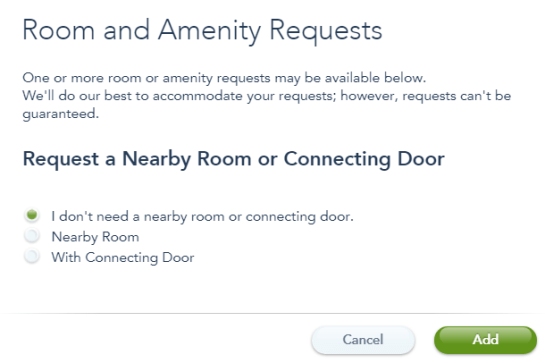 Screenshot of Room and Amenity requests from My Disney Experience to request a nearby room or connecting door.