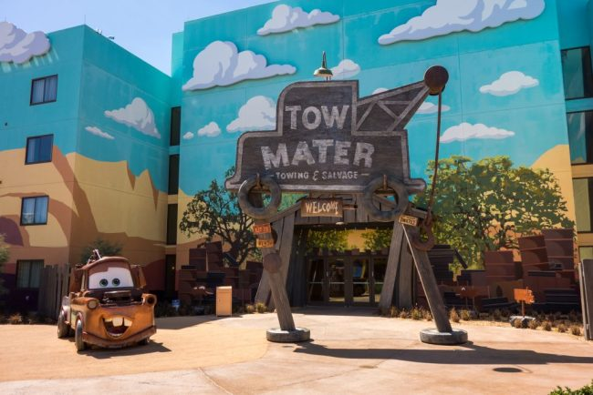 Exterior shot of the Cars themed area of the Art of Animation resort, listed as one of the Best Walt Disney World Hotels