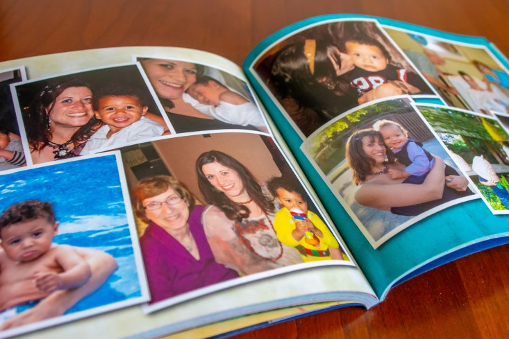 Two-page layout of a photo book with images of Theresa's sister and family members.