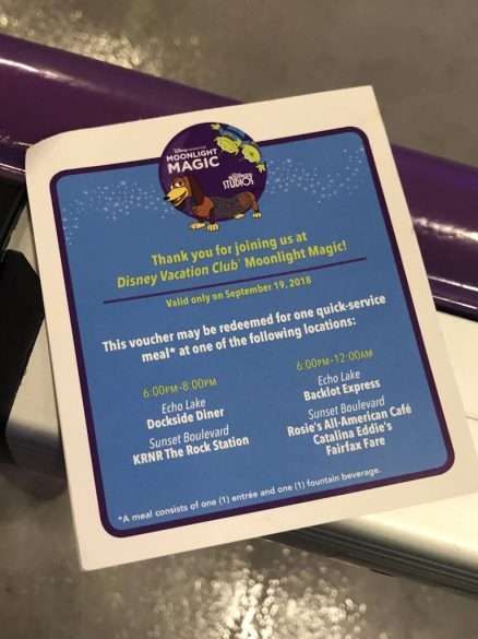 Food voucher for DVC Moonlight Magic at Disney's Hollywood Studios, letting guests know the times and locations the voucher can be redeemed for a meal